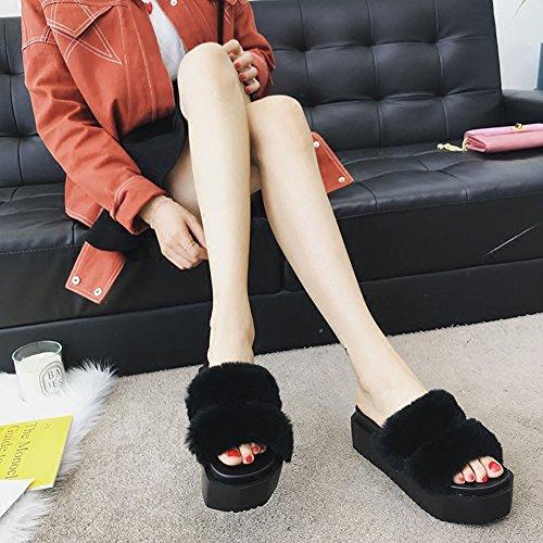 LIXIONG zapatillas Hembra verano Fondo de pastel de pino Fondo grueso Moda Wedgies zapato, 4 colores -Zapatos de moda (Color : Gris, Tamaño : EU37/UK4-4.5/CN37/235) Negro