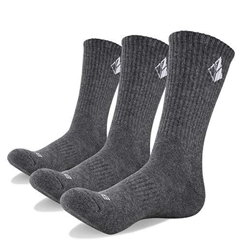 YUEDGE Men's Cushion Cotton Moisture Wicking Control Crew Athletic Socks(XL)