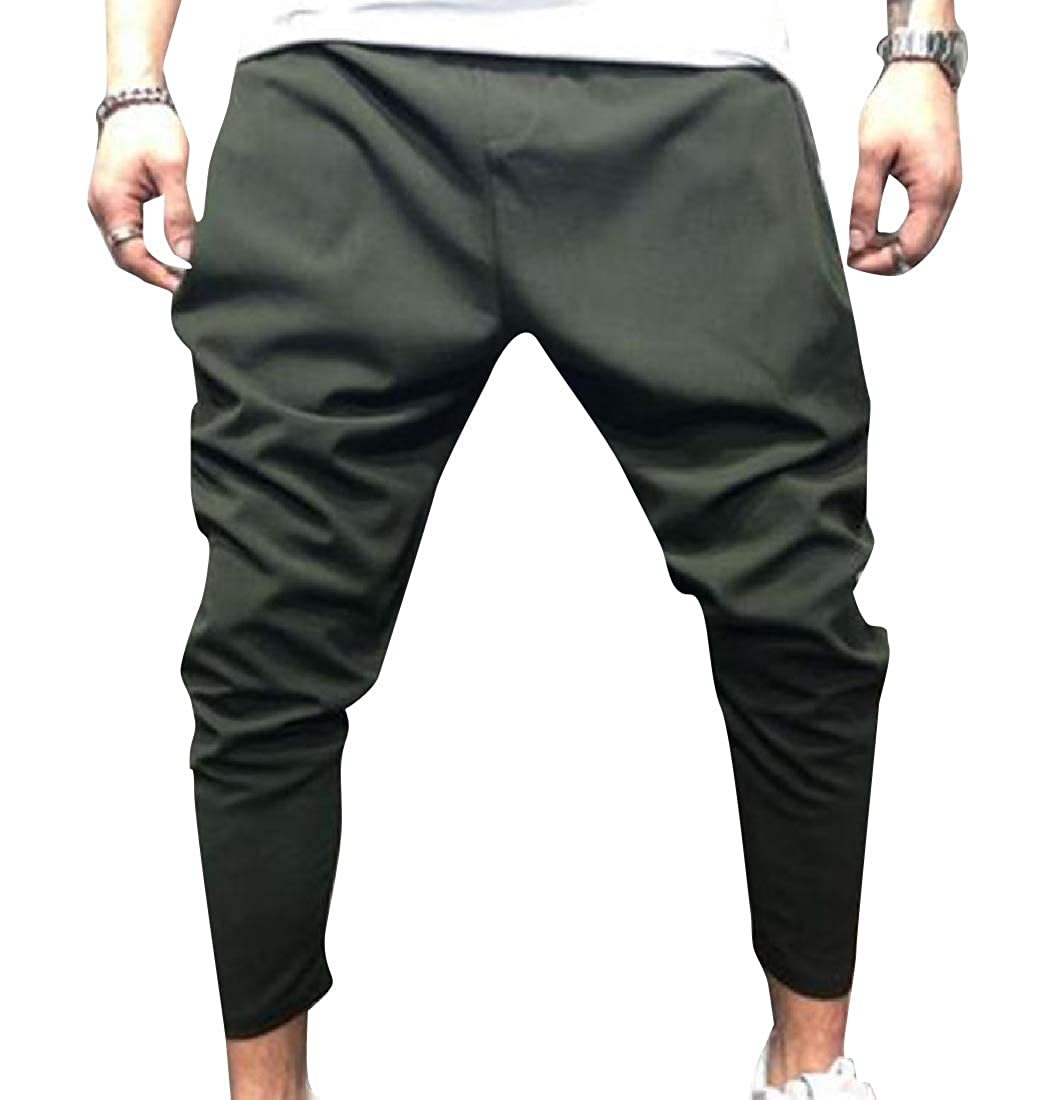 YUNY Mens Sportstyle Middle Rise Pure Color Western Harem Pant Army Green S