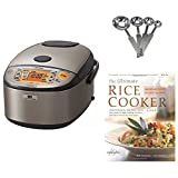 zojirushi gaba rice cooker - Zojirushi NP-HCC10XH Induction Heating System Rice Cooker and Warmer, 1 L, Stainless Dark Gray PLUS Measuring Spoons and Cookbook