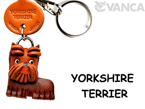Leather Dog Key Ring - Yorkshire Terrier Leather Dog Small Keychain VANCA CRAFT-Collectible Keyring Charm Pendant Made in Japan