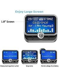 """(Versión mejorada) Transmisor FM Bluetooth, Adaptador de radio inalámbrico ToHayie Reproductor de música estéreo Pantalla LCD de 1.8 """"con puertos de carga USB dobles, admite llamadas manos libres, AUX, tarjeta TF y disco en U"""