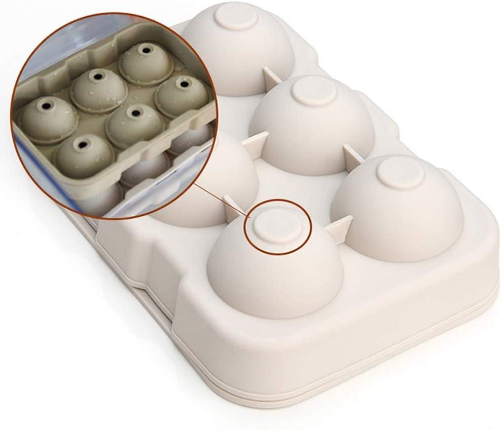 Compra MEI XU Hielo fabricación de moldes, Silicona Platino Bandeja de Hielo del Molde esférica, Redonda Caja de Hielo Cubo de Hielo, 6 Rejillas @ (Color : White) en Amazon.es