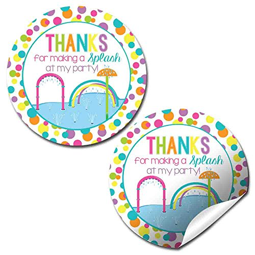 Splash Pad Birthday Party Thank You Sticker Labels for Girls, 20 2