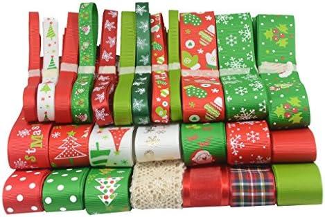 Non-brand 26本/セットクリスマスグログリンリボンギフトラッピングヘアボアDIYのクリスマスの装飾