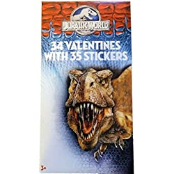 Jurassic World 34 Classroom Valentines Cards with Stickers
