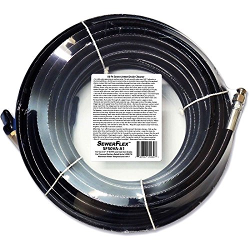 SEWER JETTER - 50 FT DRAIN CLEANER for Your GAS Pressure Washer by SewerFlex ()