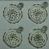 Kugeln mit Einstich silber mit Dekor 4 Stück d 6cm Christbaumschmuck Weihnachtsbaumschmuck mundgeblasen handdekoriert Lauschaer Glas das Original