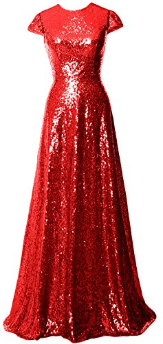 Rot MACloth Long Women Bride Bridesmaid Dress Sequin Cap Sleeves of the Gown Mother aq7waHZr