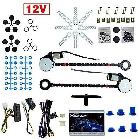 TYZXR Kit de conversión de Ventana eléctrica 2 Ventanas Universal 12V 2 Puertas Camión de Coche eléctrico Elevalunas eléctrico Elevalunas Regulador Kit de conversión Interruptores