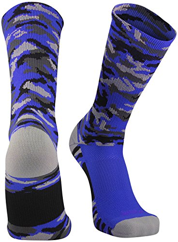 (TCK Sports Elite Woodland Camo Crew Socks, Royal, Medium)