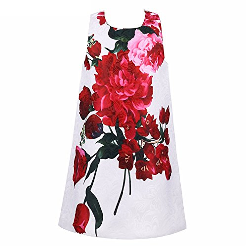Huaqiang fashion Princess Dress Girls Clothes NEW Brand Girls Summer Dresses Kids Costume Rose Flower Printed Children Dress (Tesco Halloween Adults Costumes)