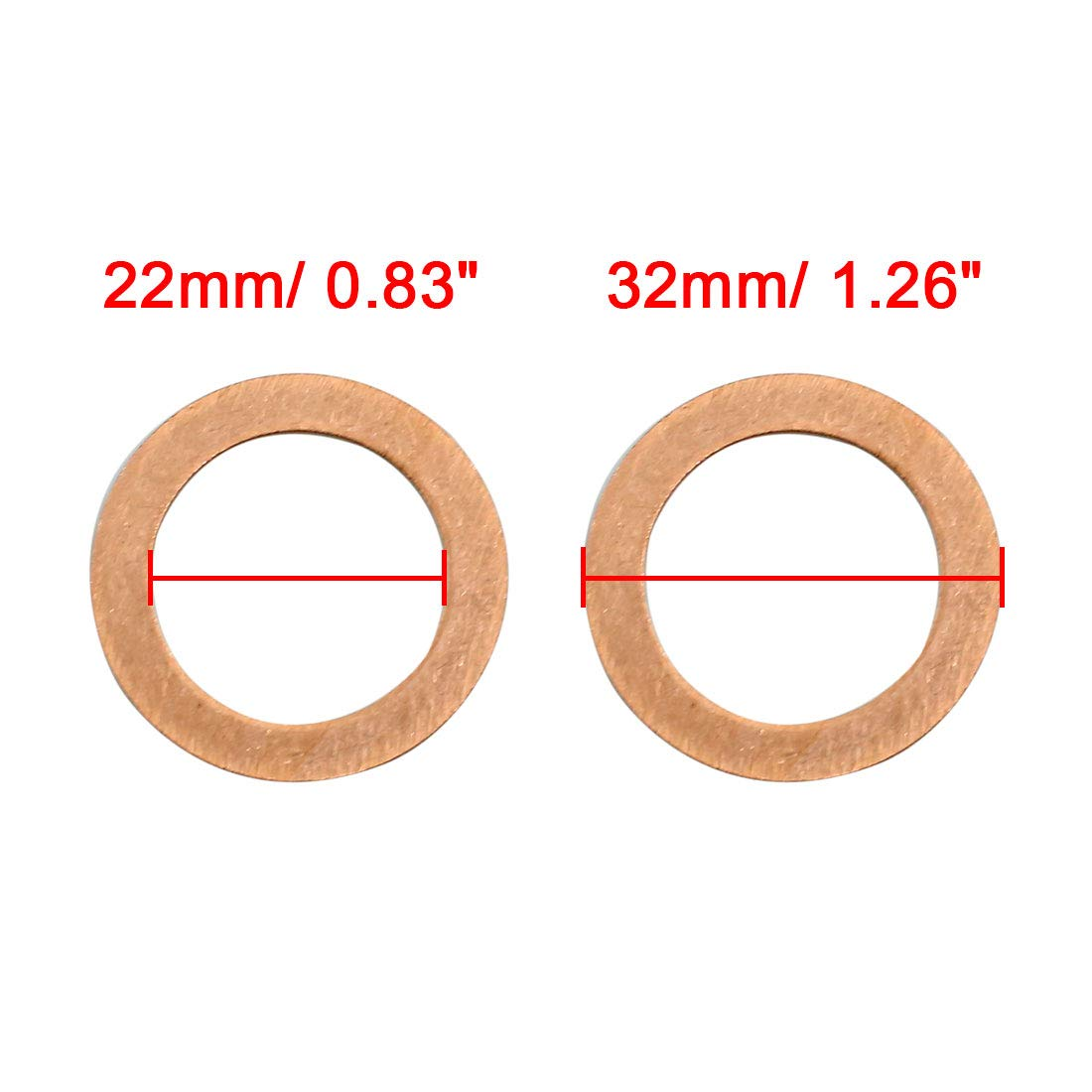 sourcing map 20 St/ück Kupferscheiben Unterlegscheiben Ring f/ür Auto 22mm Innendurchmesser