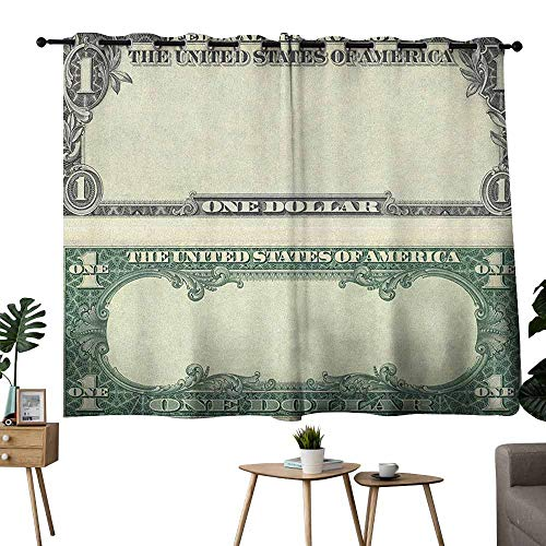 (Wlkecgi Blackout Curtain Money One Dollar Bill Buck Design American Federal Reserve Note Pattern Wealth Symbol Pale Green Grey Blackout Draperies for Bedroom Window W55 xL72)