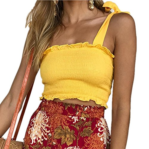 KAKALOT Girls Sexy Ruffle Strap Tie Front Top Summer Sleeveless Cami Shirt Large Yellow