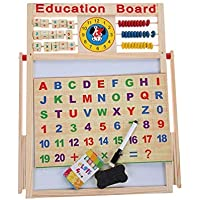 IndusBay® 2 in 1 Writing Board Slate Double Sided Educational Board with Magnetic Alphabets Numbers Maths Learning Toy for Kids