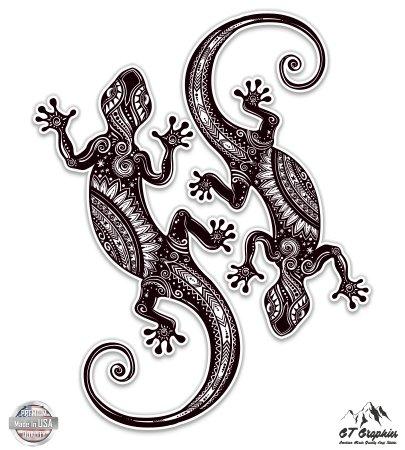 Lizard Sticker - Artistic Lizards Set of 2 - 4