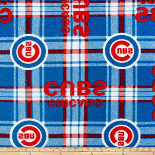 (Fabric Traditions 0315242 MLB Fleece Chicago Cubs Plaid Red/Blue Fabric by The Yard,)