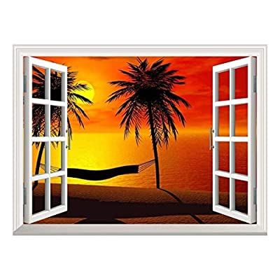 Removable Wall Sticker Wall Mural Silhoutte of a Hammock Between Two Palm Trees in Sunset Creative Window View Wall Decor, Made With Top Quality, Pretty Expertise