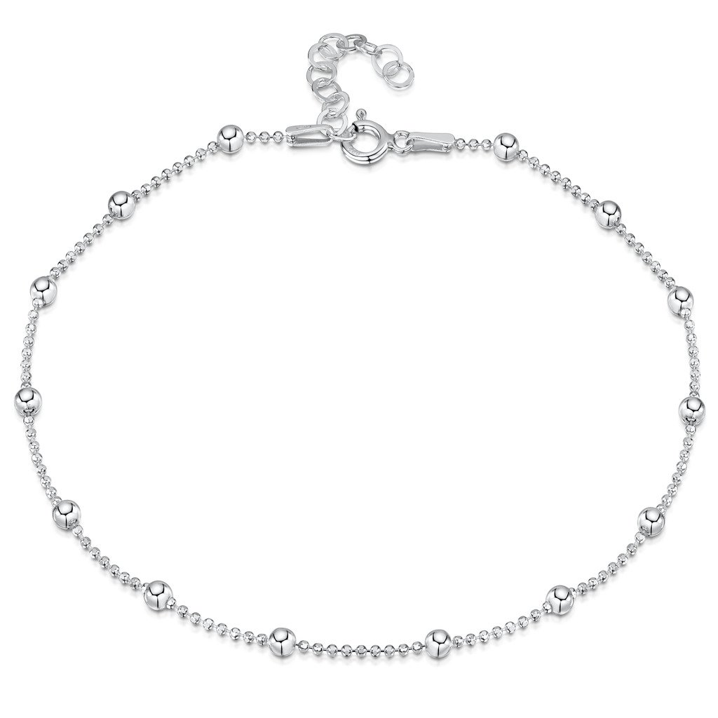 925 Fine Sterling Silver 3.2 mm Adjustable Anklet - Ball Bead Chain Ankle Bracelet - 9'' to 10'' inch - Flexible Fit