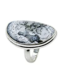 Stunning Large Sterling Silver Rare Dendritic Opal Ring, Size 8
