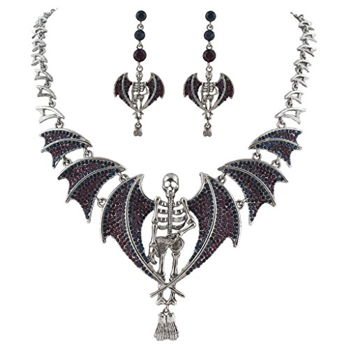 (EVER FAITH Skull Bat Necklace Earrings Set Austrian Crystal Purple Antique Silver-Tone)