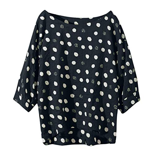 Women Cotton linens Casual Plus Size Tops Shirt Vintage Boho dot Loose Blouse top Big Pattern Black -