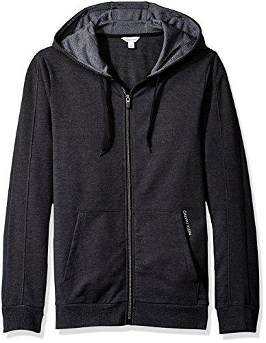 Sweater Gunmetal Mens (Calvin Klein Men's French Terry Color Block Hoodie, Gunmetal Heather, XS)