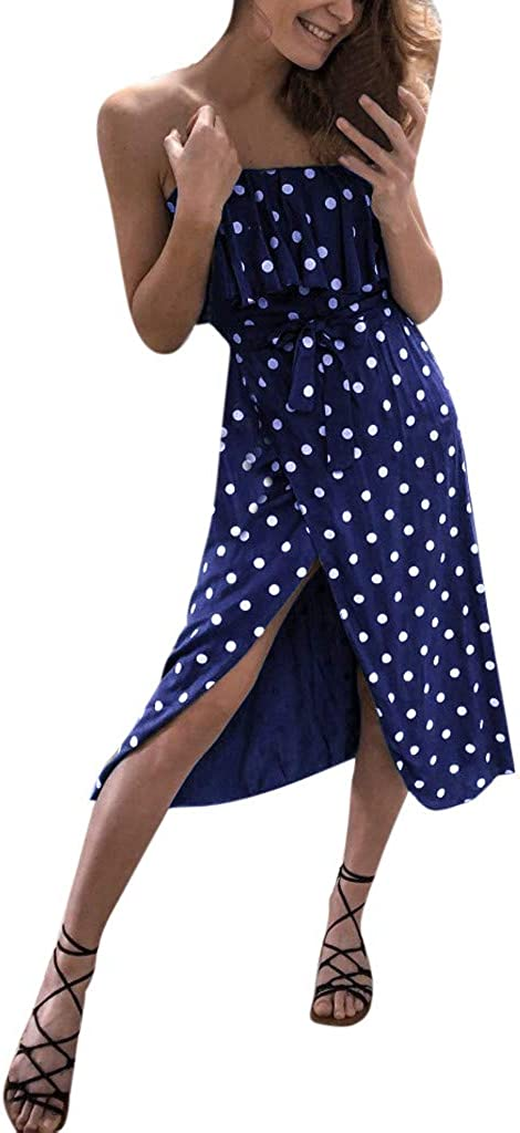 Dress for Women Summer Ruffle Belt Boho Floral Spaghetti Strap Lace up Dot Print Dress Swing Midi Dress