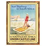 Wood-Framed Surf Bathing Metal Sign: Travel Decor Wall Accent for kitchen on reclaimed, rustic wood