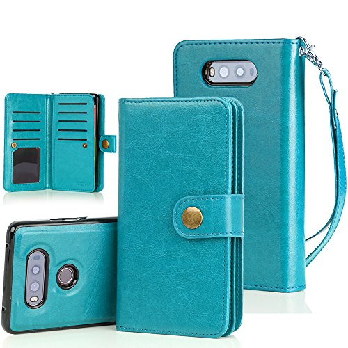 LG V20 Case, TabPow 10 Card Slot - [ID Slot][Button] Wallet Folio PU Leather Case Cover with Detachable Magnetic Hard Case for LG V20 - Blue