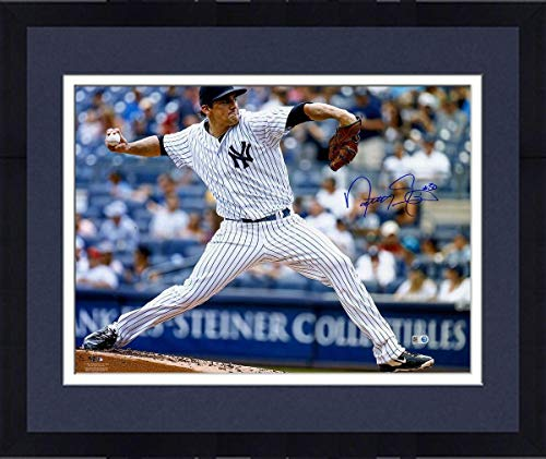Framed Nathan Eovaldi New York Yankees Signed Pitching 16x20 Photograph - Steiner Sports Certified - Autographed MLB - Hand 16x20 Mlb Photograph Signed