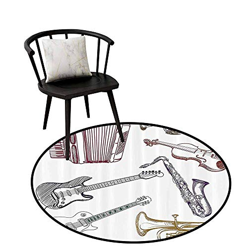 Modern Round Rug Music Decor Can be Folded Musical Instruments Like Cello Guitar Accordion Trumpet Violin Saxophone Print Multicolor D35(90cm)