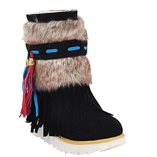Charme Voet Dames Warme Kwastjes Hoge Top Winter Lage Hak Korte Snowboots Zwart