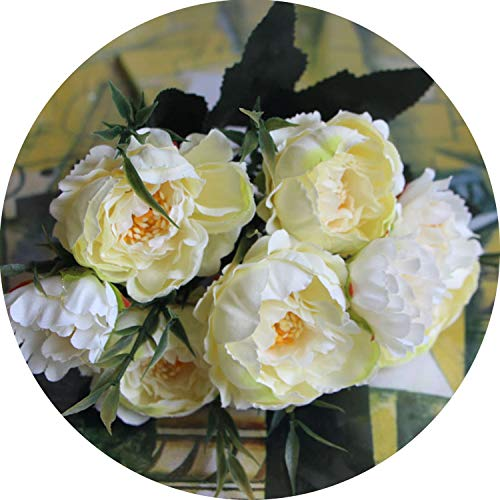 Bride Wedding Small Peony Silk Flowers Mini Fake Flowers for Home Decoration Indoor,White