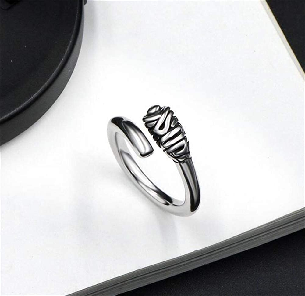 PAMTIER Unisex Stainless Steel Retro Simple Silver Hoop Ring Matching Open Fine Tail Finger Band