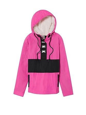 061c51adf9f4e Victoria s Secret Pink Sherpa Lined Hood Anorak Windbreaker Jacket  XSmall Small Color Pink at Amazon Women s Coats Shop