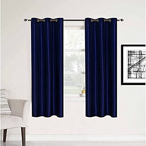 HollyHOME 2 Panels Room Contemporary Decorative Blackout Thermal Insulated Grommet Window Curtain for Living Room, Navy Blue, 42x63 (Eclipse 42x63)