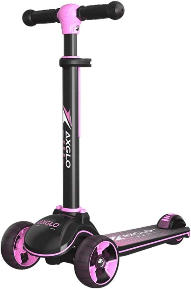 スクーター子供三輪フラッシュ2-6-12歳の子供の男性と女性の赤ちゃん片足車 (色 : ピンク) ピンク