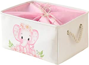 INough Elephant Storage Bins for Kids, Gift Box for Baby,Collapsible Storage Basket for Toys Clothes,Fabric Laundry Baskets for Baby/Kids/Nursery Room (Large, Pink Elephant)