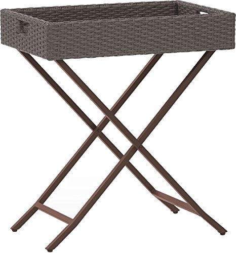 Crosley Furniture Palm Harbor Outdoor Wicker Folding Butler Tray – Grey Review