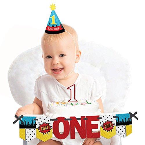 Big Dot of Happiness BAM! Superhero 1st Birthday - First Birthday Boy Smash Cake Decorating Kit - High Chair Decorations -
