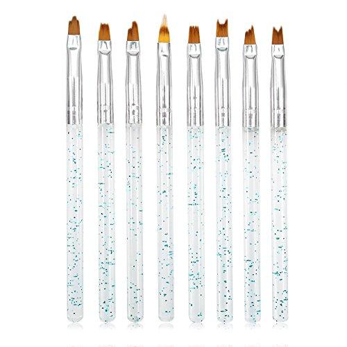 Zerone Nail Art Brushes Set 8Pcs Pinceles De Pluma Francesa Color Degradado UV Gel Pintura Herramientas De Manicura De Dibujo...