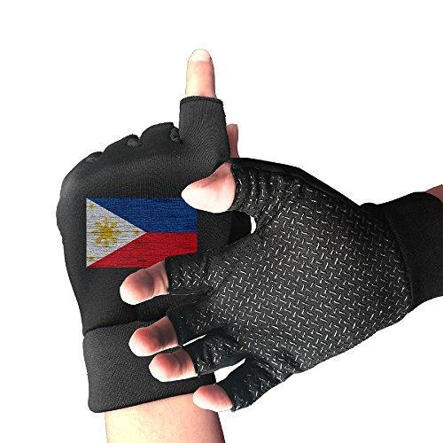 CITTS Philippines Wooden Texture Philippine Flag Unisex Womens Mens Outdoor Light Anti-skid Half-finger Gloves