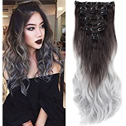 """S-noilite 23"""" Ombre Dip Dye Long Curly Clip in Hair Extensions, Two Tone Thick Full Head Synthetic Hairpieces (Dark Brown to Silver Gery) Women Fashion Hairstyle"""
