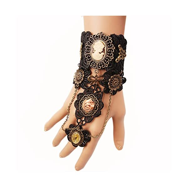 MEiySH Gothic Lolita Retro Steampunk Gear Lace Slave Bracelet Wristband Black Flower Ring 5