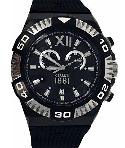 Cerruti 1881 Mens Chronograph Watch Black Silver Tone with Rubber Strap Diamond CCRWA038F224Q