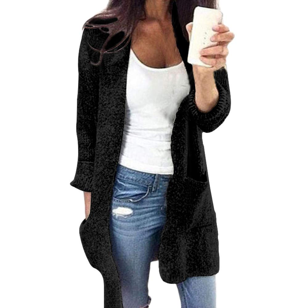Womens Sweaters Cardigans Liraly Winter Open Front Solid Pocket Cardigan Long Sleeve Sweater Coat(Black,US-12 /CN-L2)