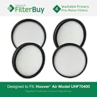 4 - Hoover WindTunnel Air Model UH70400 & UH72400 Primary Filters. Designed by FilterBuy to replace Hoover Part # 303903001. Washable and Reusable.