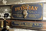 Physician Wood Plank Sign with Personalized Nameboard